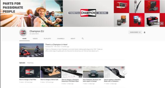 Champion lanseaza un canal de YouTube pentru soferi si mecanici