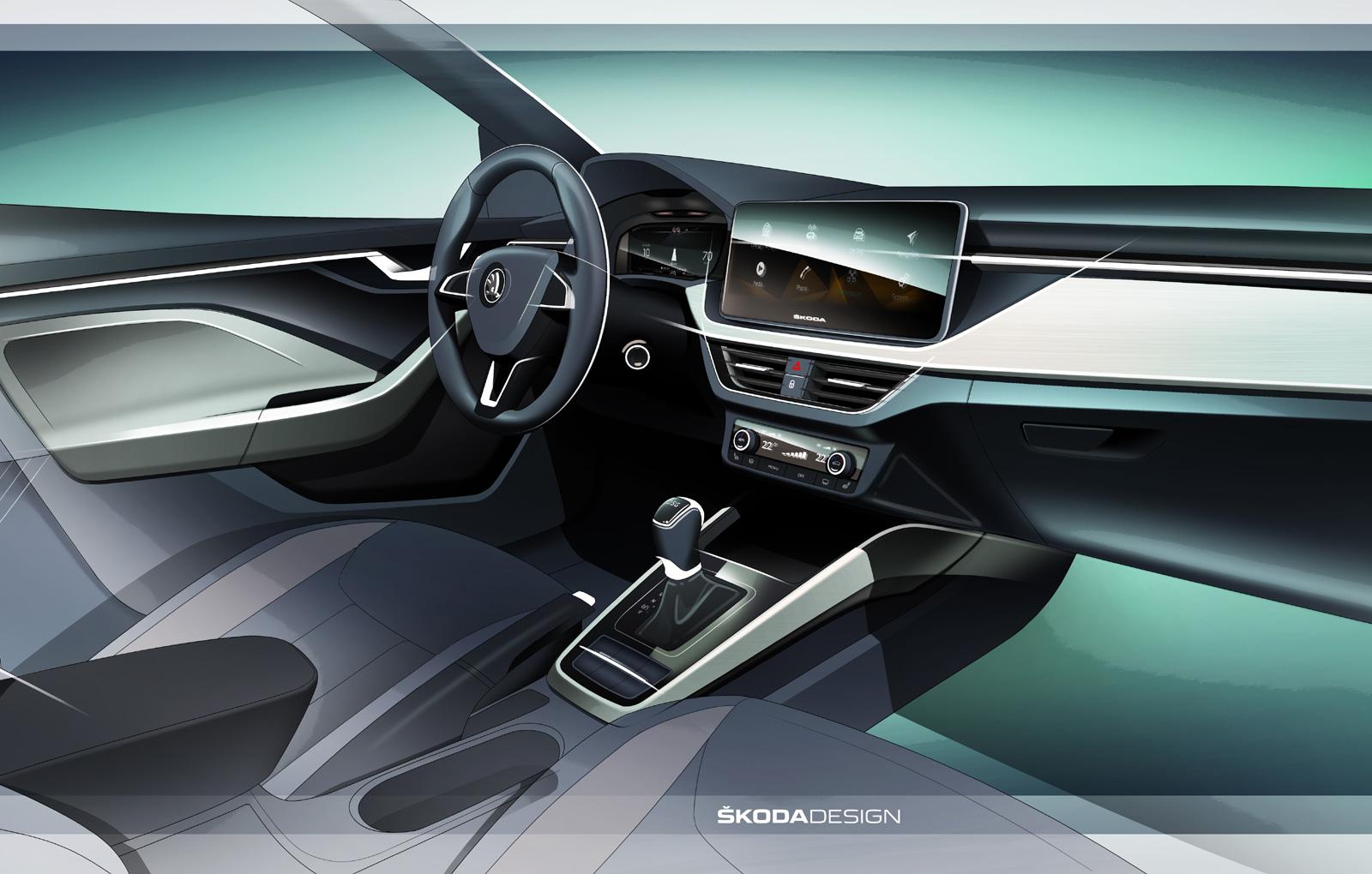 Skoda a publicat prima schita cu interiorul noului Scala. Hatchback-ul este un rival pentru Golf