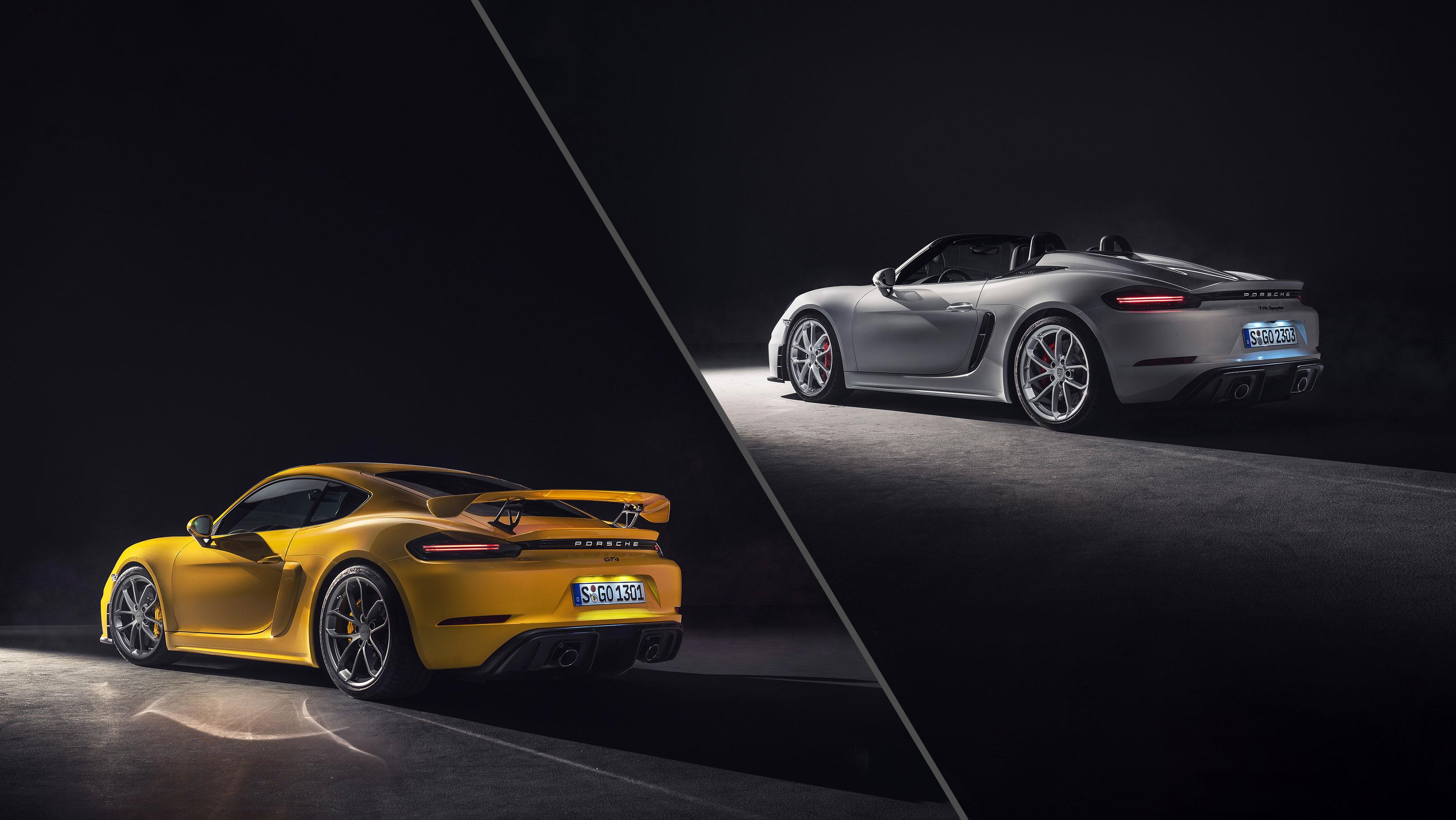 Noi modele sportive de top cu motoare cu aspiratie naturala: Porsche 718 Spyder si 718 Cayman GT4